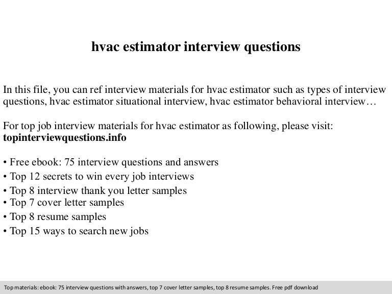 Hvac estimator interview questions