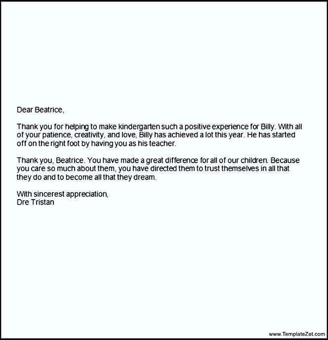 Teacher Appreciation Letter   TemplateZet