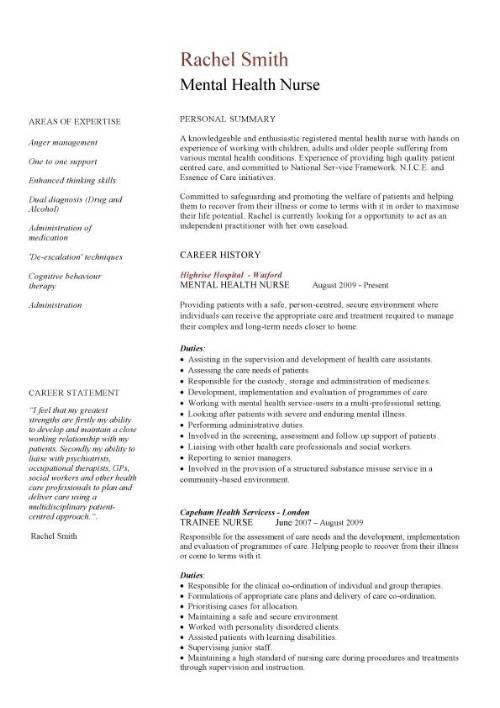 Mental health nurse CV sample, career history, resume example ...