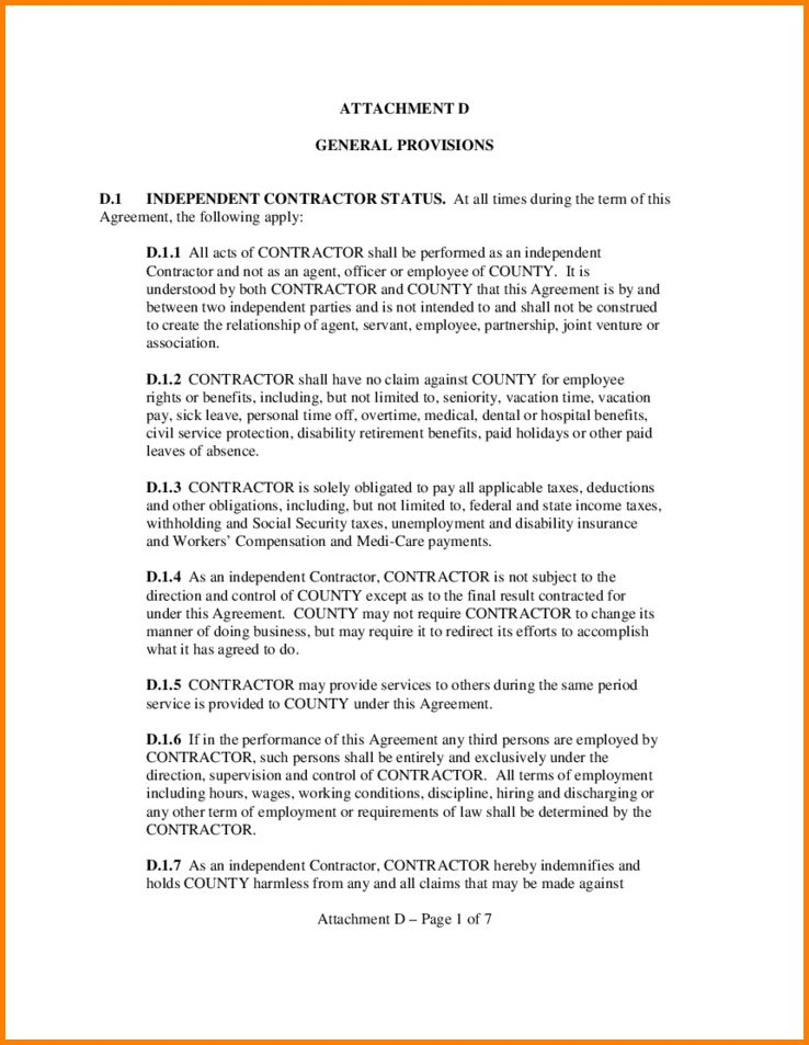 6+ sample contractor agreement | Letter Template Word