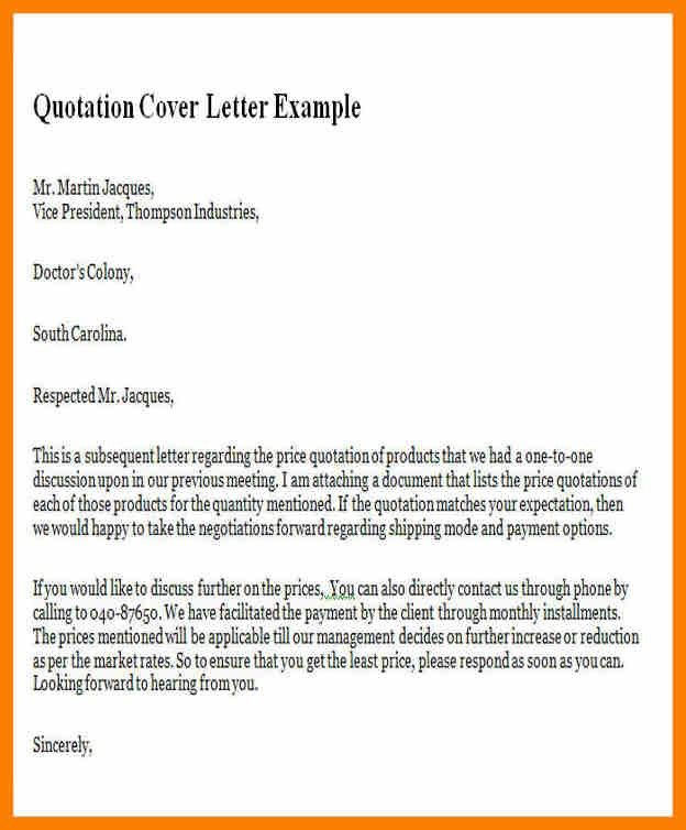 Quotation Sample Cover Letter - Cover Letter Templates