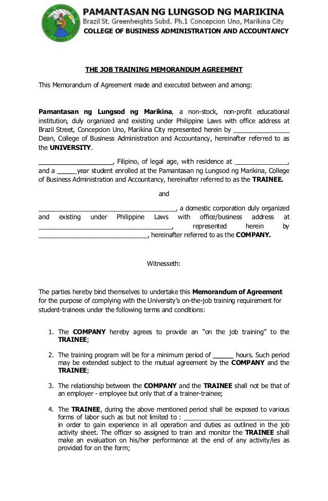 Ojt Forms2013Training Agreement. Training Service Contract Sample ...