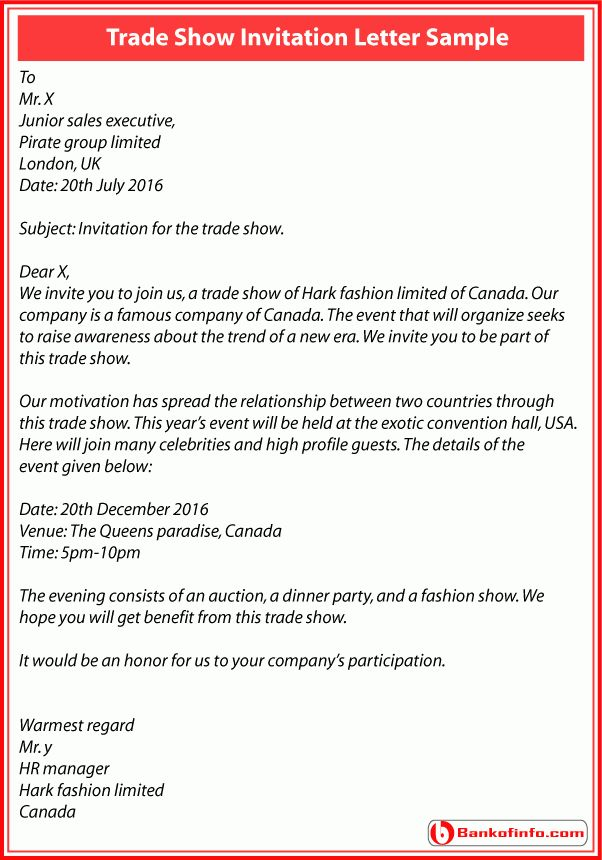 Formal invitation letter for event sample business event trade show invitation letter sample stopboris Choice Image