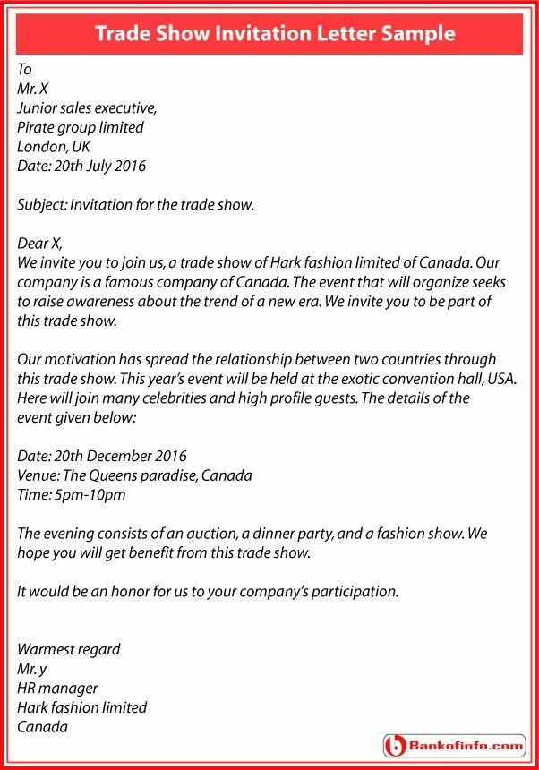 Trade show invitation letter sample