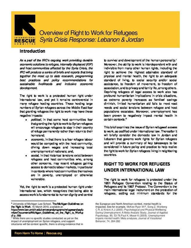 Policy brief: overview of right to work for refugees, Syria crisis ...