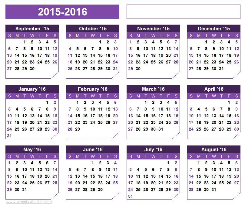 September 2015-August 2016 Calendar Templates