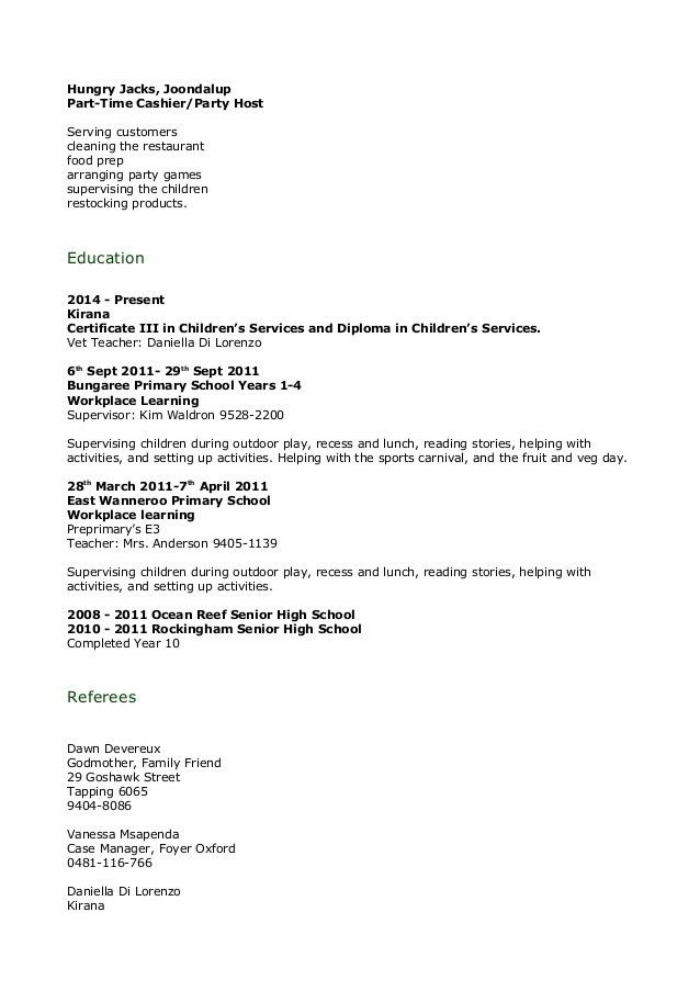 Child Care Resume
