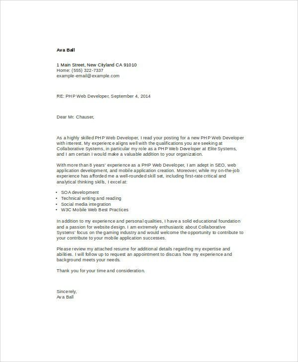 Application Developer Cover Letter Xml Developer Cover Letter - Mobile developer cover letter