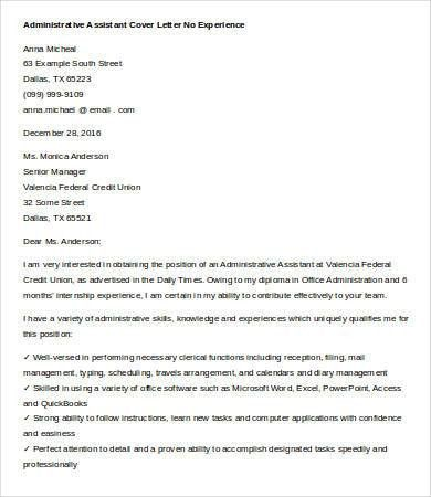 Cover Letters For Administrative Assistant - 6+ Free Word ...