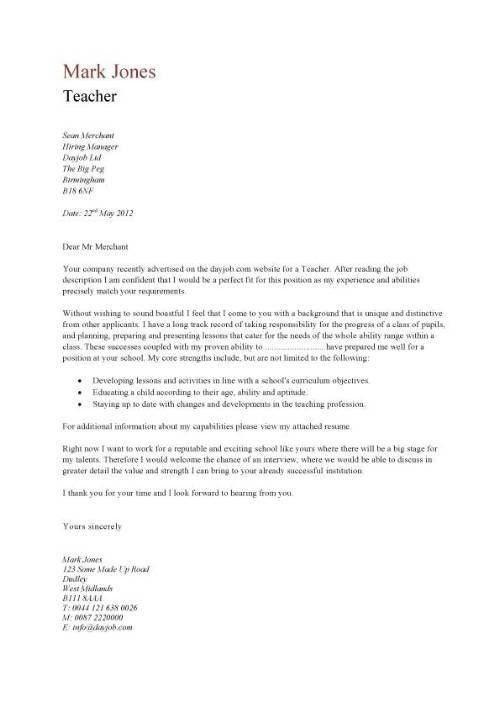 Cover Letter Template for Teacher Example of Teacher Cover Letter ...