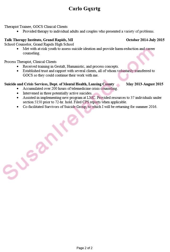 Resume Example for MFT Internship - Susan Ireland Resumes