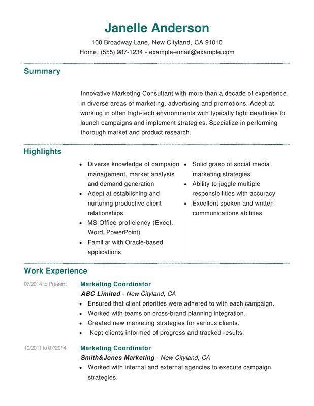 Marketing Combination Resume - Resume Help
