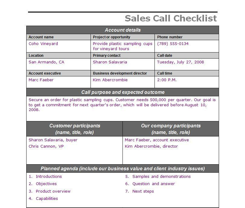 Sales Call Checklist | Sales Call Template