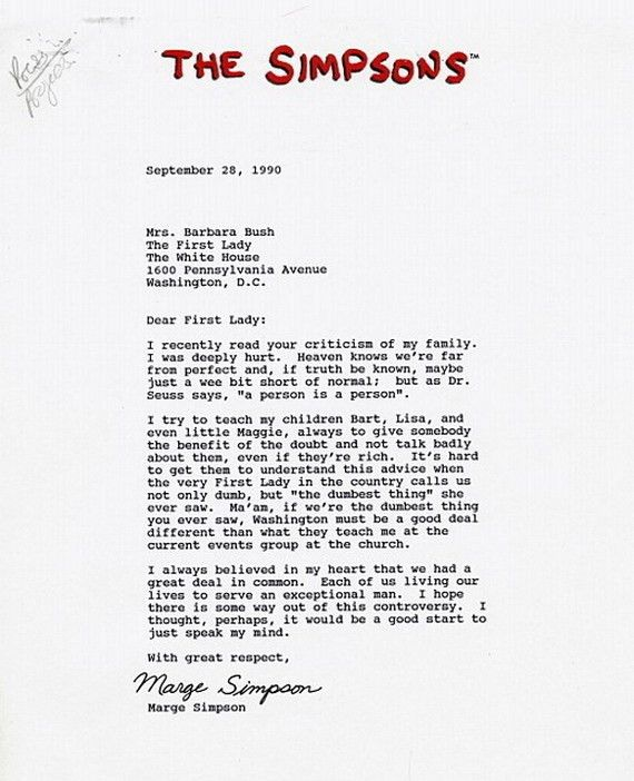 Marge Simpson's Letter To Former First Lady Barbara Bush (PICTURE ...