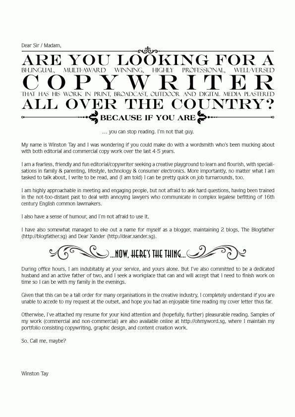 Copywriter Cover Letter - CV Resume Ideas