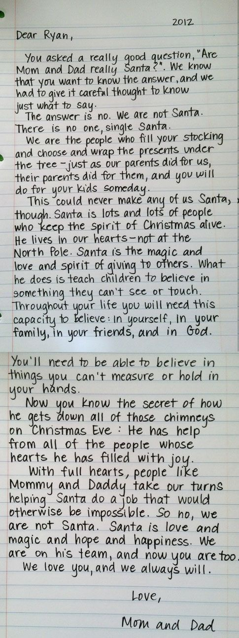 Letter About Santa Keep For When The Questioning Starts