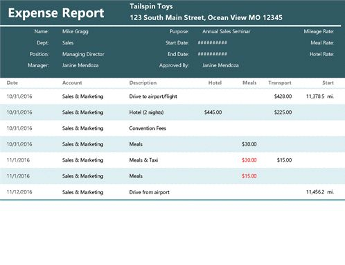 Expense report - Office Templates