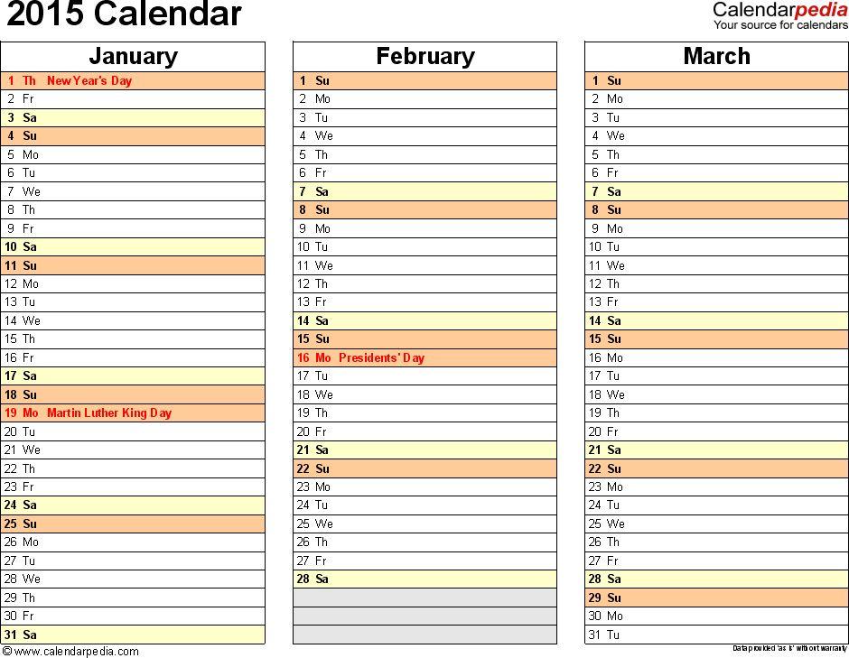 2015 Calendar - 16 Free Printable Word Calendar Templates