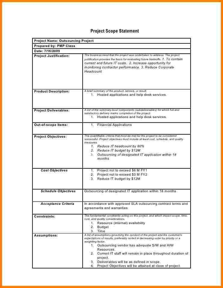 7+ project management scope statement template | Case Statement 2017