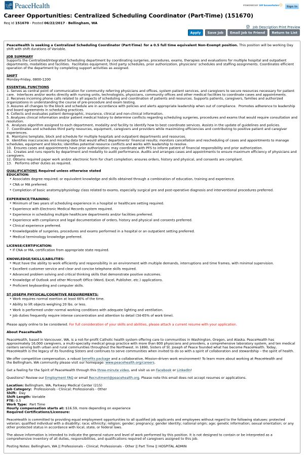 Centralized Scheduling Coordinator job at PeaceHealth in ...
