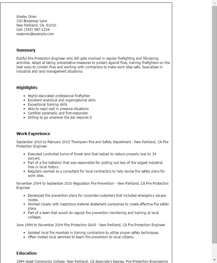 Certified Fire Protection Engineer Sample Resume ...