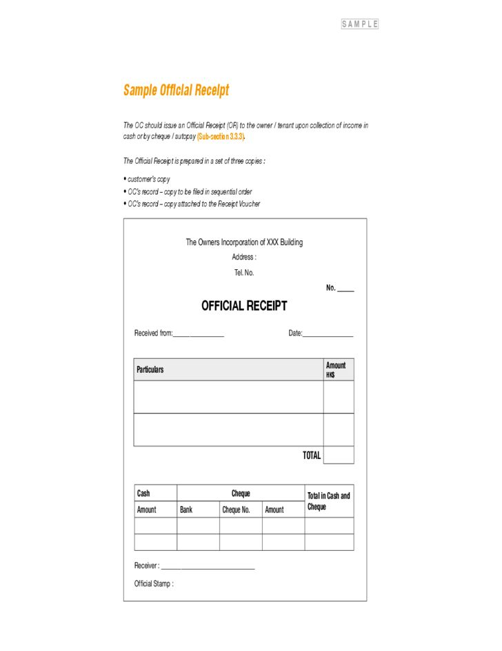 Sample Official Receipt Free Download