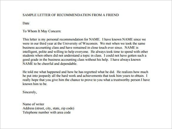 8+ College Recommendation Letter – Free Sample, Example Format ...