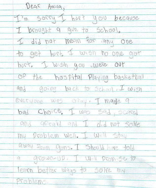 Dear Amina, I am sorry': Boy, 9, writes letter to girl who was ...