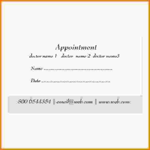 Medical Appointment Card Template Free Gallery Design Ideas Business