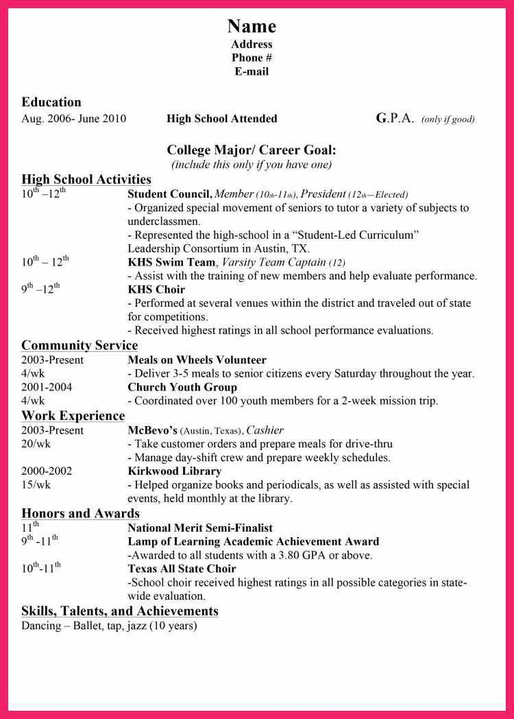 high school resume examples | bio letter format