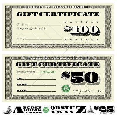 Vector Money Gift Certificate Set - Snap Vectors