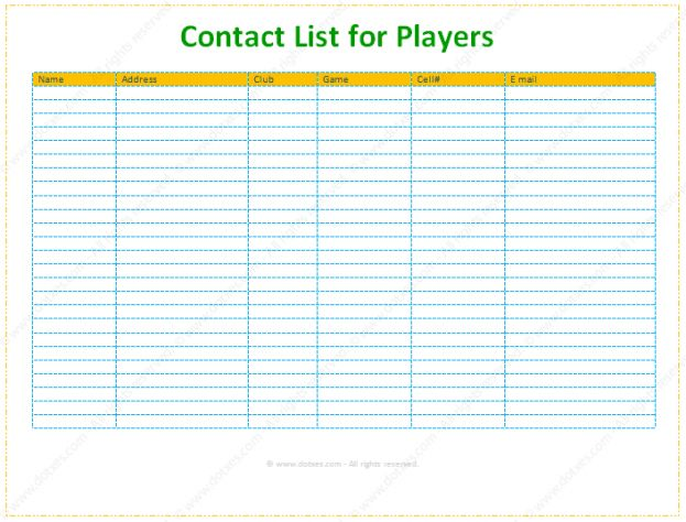Contact and Phone List Information Template : Selimtd