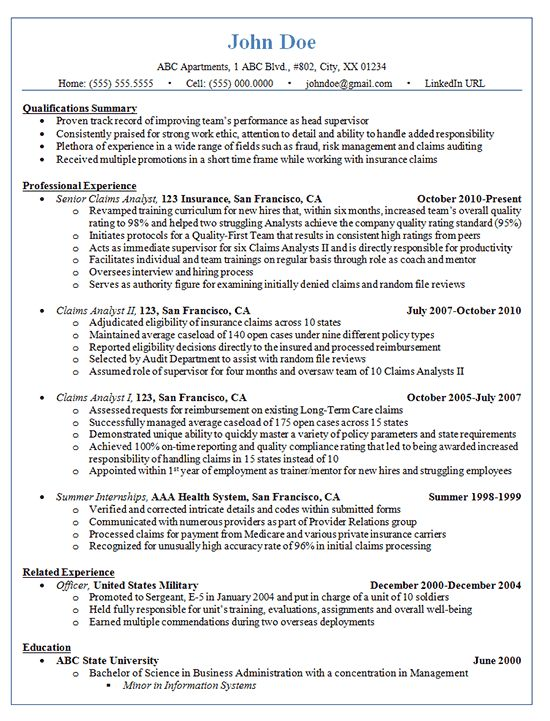 Claims Analyst Resume Example - Insurance and Finance