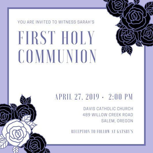 Lavender Rose First Communion Invitation - Templates by Canva
