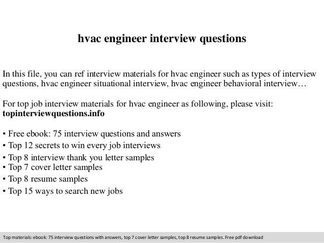 Hvac engineer interview questions