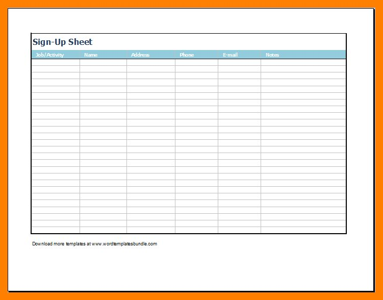 6+ sign up sheet template   bibliography formated