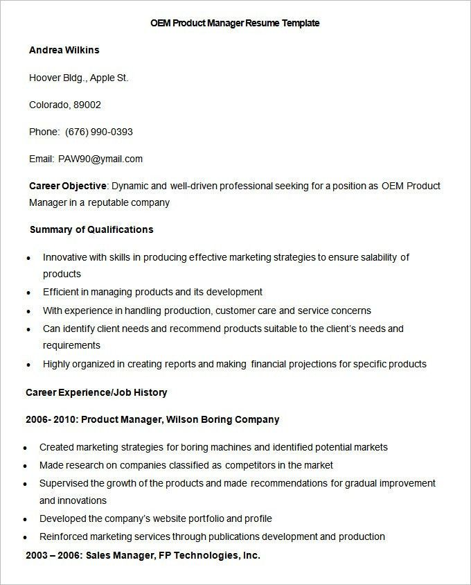 Manufacturing Resume Template – 26+ Free Samples, Examples, Format ...