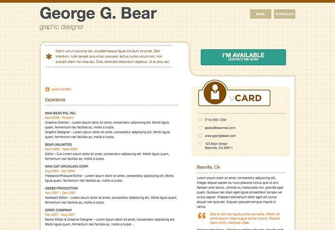 50 Professional HTML Resume Templates | Web & Graphic Design ...