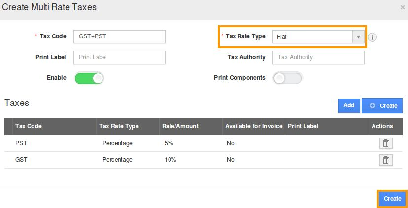 Tax rate Types in Multi tax Invoices