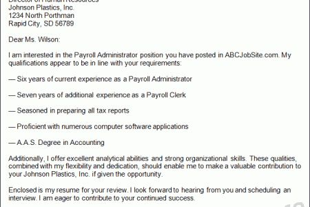 Cover letter for a payroll auditor job