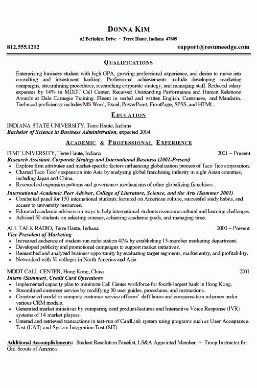 College Student Resume Example - Sample