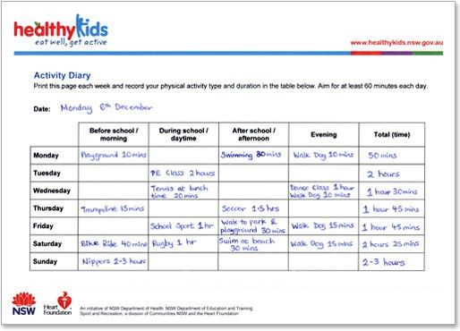 Healthy Kids : Activity Diary