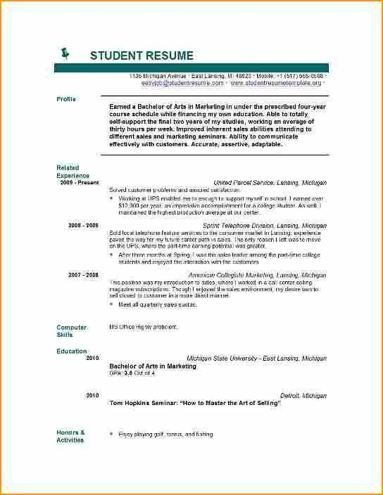 Student Resume. Best Photos Of Current High School Student Resume ...