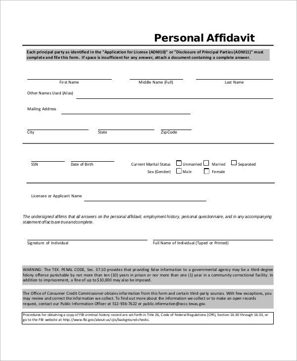 Sample Affidavit - 10+ Examples in Word, PDF