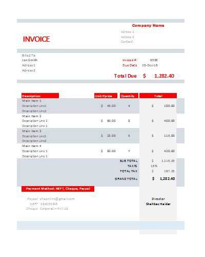 Download Free Tax Invoice Templates in Excel, Word & PDF Formats