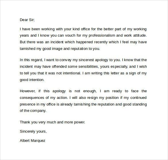 Letter Of Apology To Boss Letter Of Apology To Boss Formal