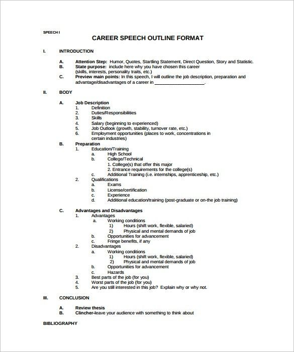 presentation outline template pdf sample speech outline template 9 ...