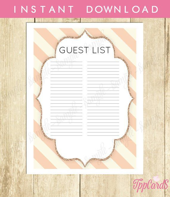 Gold and Pink Baby Shower Guest List Glitter Baby Shower List Chic ...