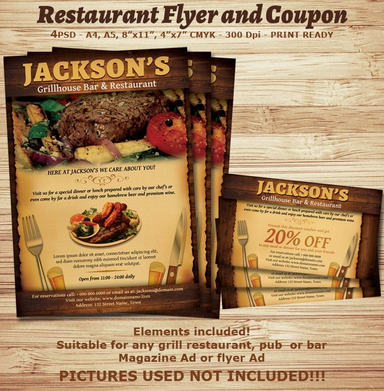 Restaurant-Bar Magazine Ad or Flyer Template V2 ‹ PsdBucket.com