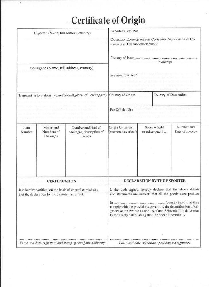 Free Caricom Certificate Of Origin Template - FormXls